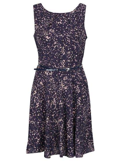 Růžovo-modré vzorované šaty s páskem Apricot