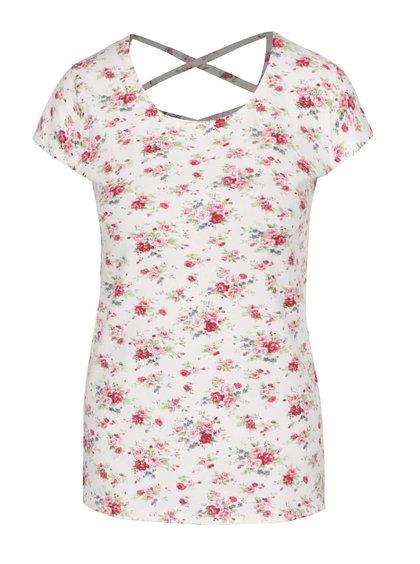Krémové tričko s detailom na chrbte a potlačou Haily's Melanie