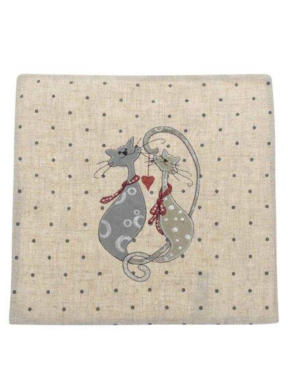 Béžový povlak na polštář s motivem koček Dakls