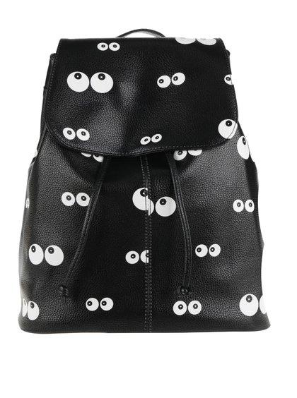 Černý koženkový batoh s motivem očí Haily's Aylin