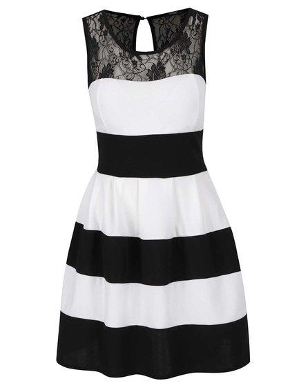 Bílo-černé pruhované šaty s krajkou v dekoltu Haily's Maray