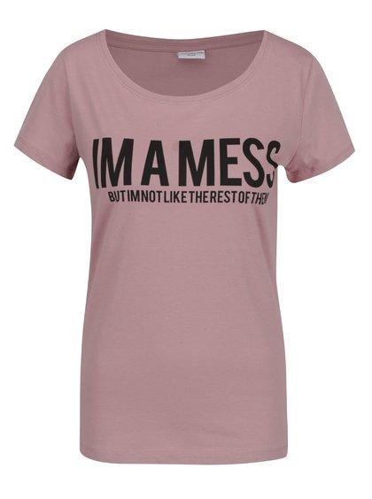 Růžové tričko s potiskem Jacqueline de Yong Chicago