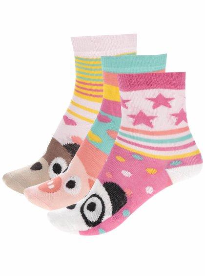 Sada tří holčičích ponožek s motivem zvířatek Oddsocks Faces