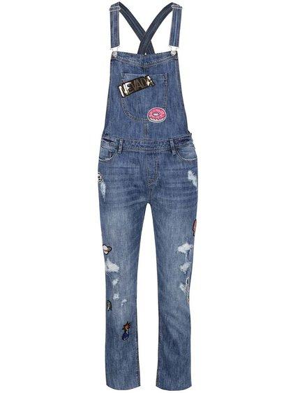 Modré džínové lacláčové kalhoty s nášivkami TALLY WEiJL