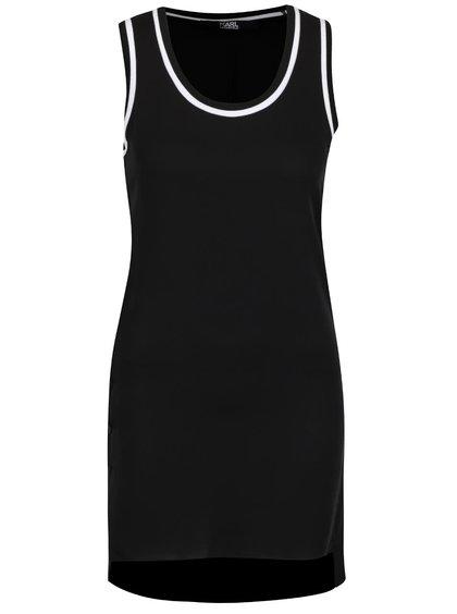 Černý dlouhý hedvábný top KARL LAGERFELD