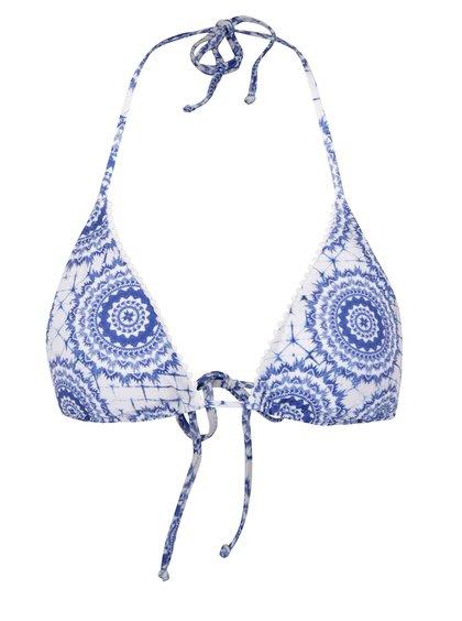 Modrý horní díl plavek s potiskem ornamentů Desigual Neusi