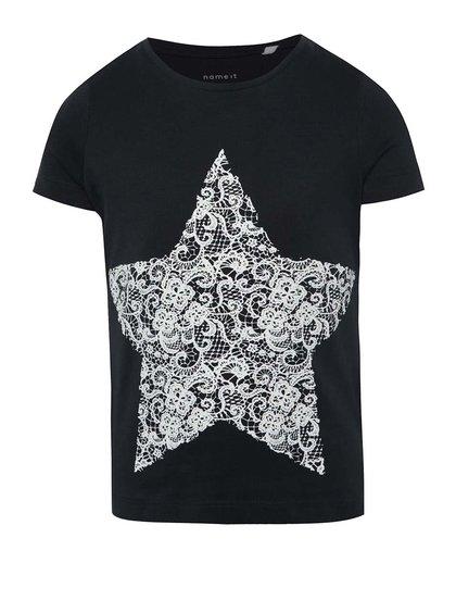 Tmavě modré holčičí tričko s potiskem hvězdy name it Iben