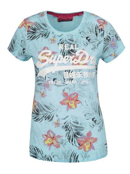 Tricou albastru deschis Superdry din bumbac cu model floral și print