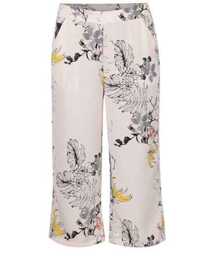 Světle růžové vzorované culottes kalhoty VERO MODA Maggie
