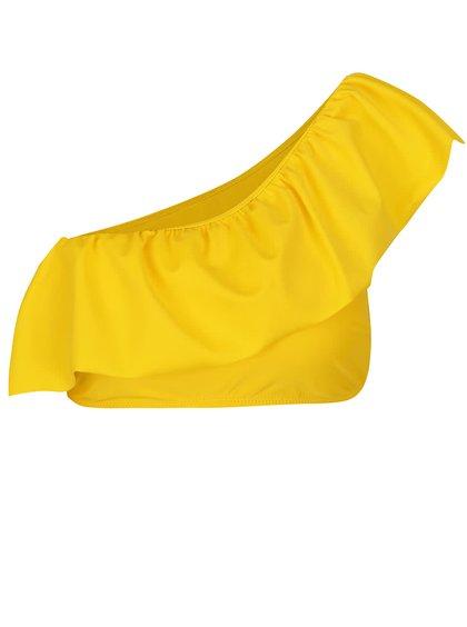 Žlutý horní díl plavek s volánem a odhaleným ramenem VERO MODA Ella