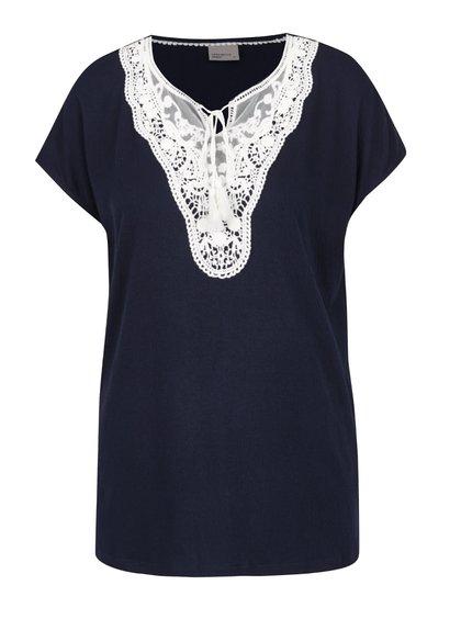 Tricou bleumarin Vero Moda Matea cu detaliu din dantelă și macrame
