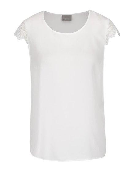 Bílé triko s krátkým rukávem a krajkou VERO MODA Green