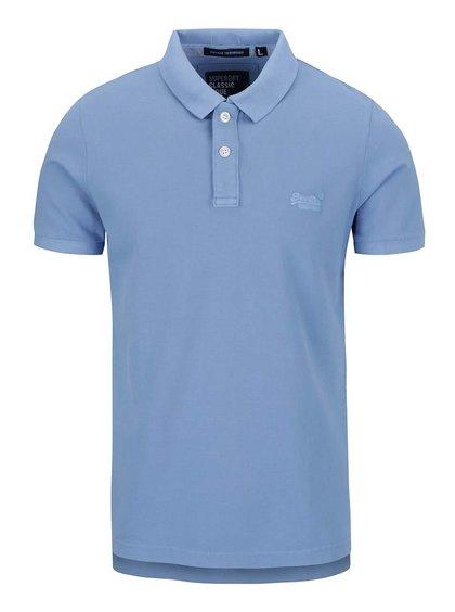 Tricou polo albastru deschis Superdry din bumbac cu logo