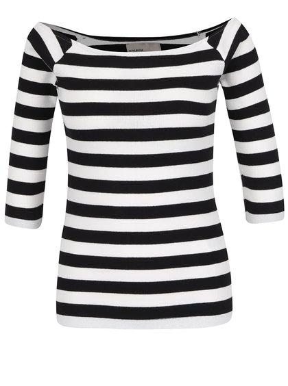 Černo-krémové pruhované tričko s lodičkovým výstřihem VERO MODA Bal