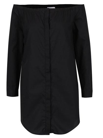 Bluză lungă neagră Noisy May Noami cu decolteu pe umeri și capse