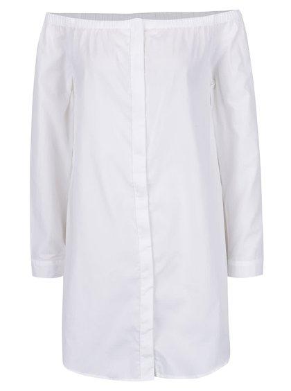 Bluză lungă alb fildeș Noisy May Noami cu decolteu pe umeri și capse
