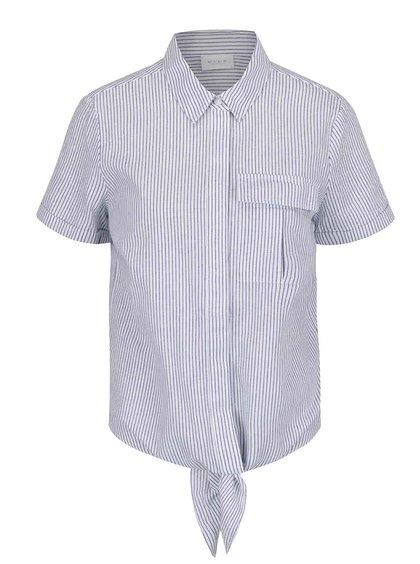 Modro-krémová pruhovaná košile s příměsí lnu VILA Rosettan