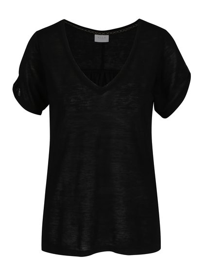 Černé volné tričko s průstřihy na ramenou VILA Uran