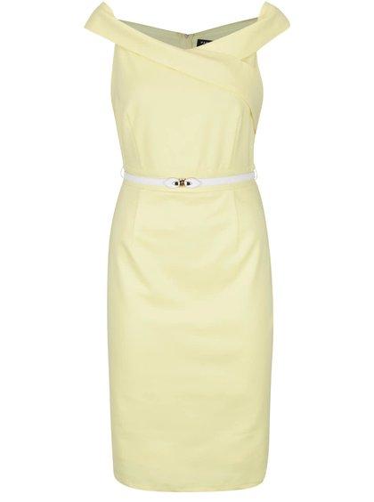 Svetložlté šaty s opaskom v krémovej farbe Little Mistress