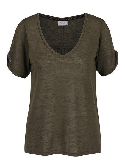Khaki volné tričko s průstřihy na ramenou VILA Uran