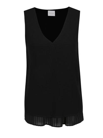 Top negru VILA Erica cu detaliu plisat