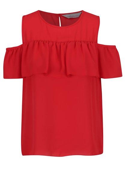 Červená halenka s průstříhy na ramenou Dorothy Perkins Petite