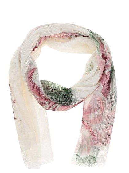 Krémový šátek s barevnými detaily Desigual