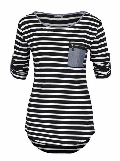 Krémovo-černé pruhované tričko s kapsou ZOOT