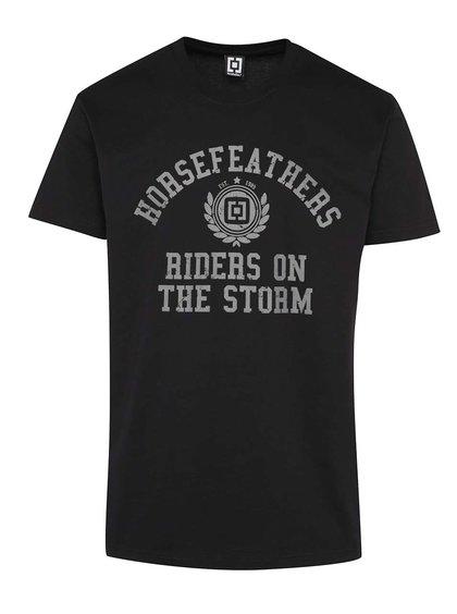 Tricou negru Horsefeathers University cu print