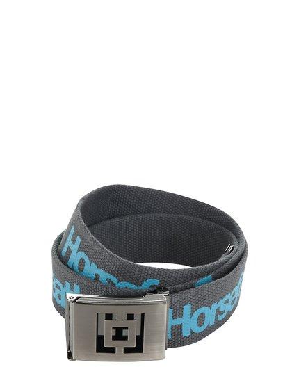 Tmavě šedý pánský pásek s modrým potiskem Horsefeathers Icon