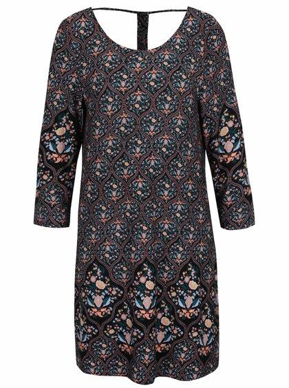 Černé volné květované šaty s výtřihem na zádech Apricot