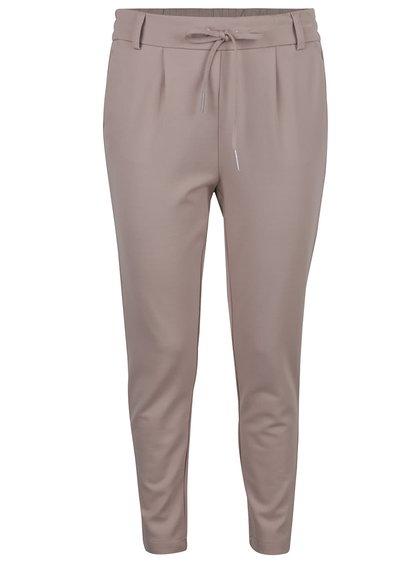 Pantaloni maro deschis ONLY cu șnur decorativ
