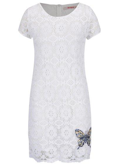 Rochie albă Desigual Cadaqués din dantelă