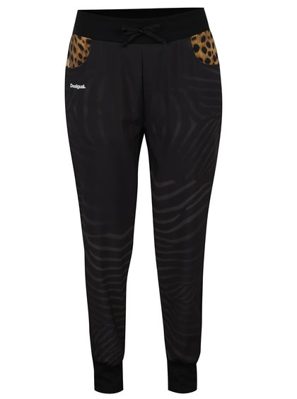 Černé vzorované sportovní kalhoty Desigual Sport