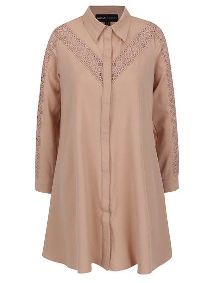 Rochie cămașă mini bej Mela London cu detaliu din macrame