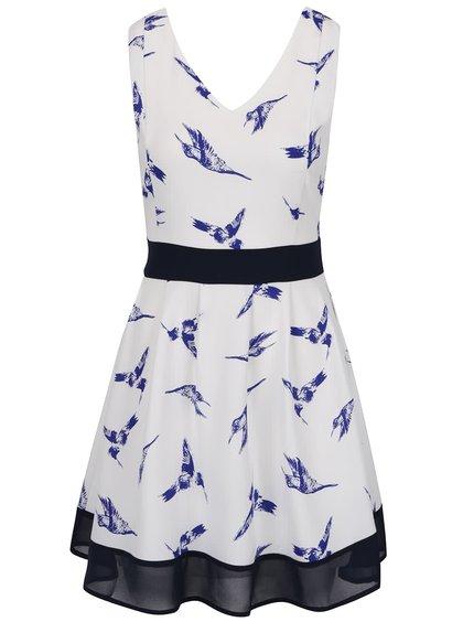 Modro-bílé šaty s potiskem ptáčků Mela London