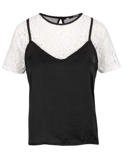 Bluză negru & alb Haily's Sare cu aplicație din dantelă
