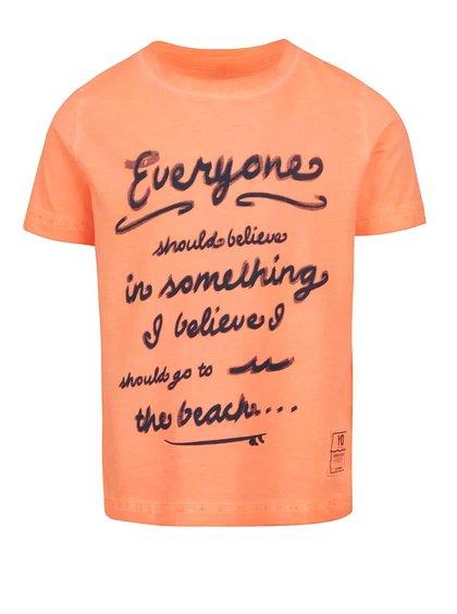 Tricou portocaliu name it Zarst din bumbac cu print