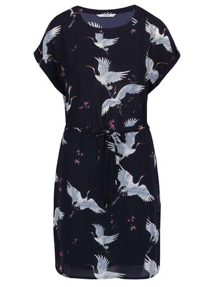 Tmavě modré šaty s motivem ptáků ONLY Cran