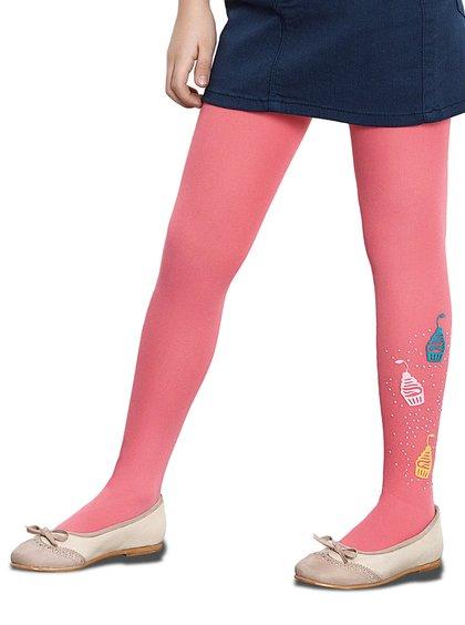 Růžové voňavé holčičí punčocháče s motivem dortíků Penti Pretty Cake 40 DEN