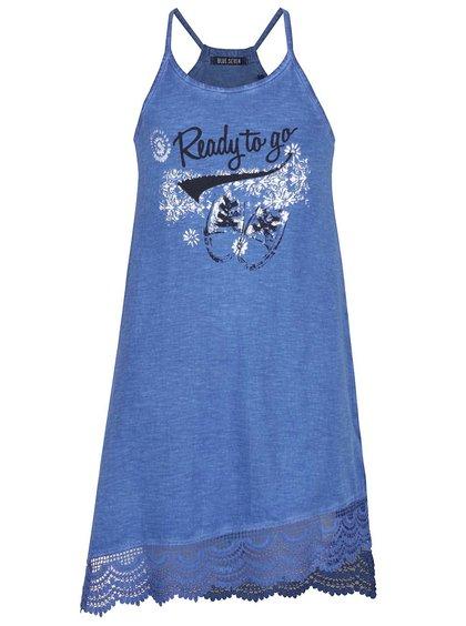 Tmavě modré holčičí asymetrické šaty Blue Seven