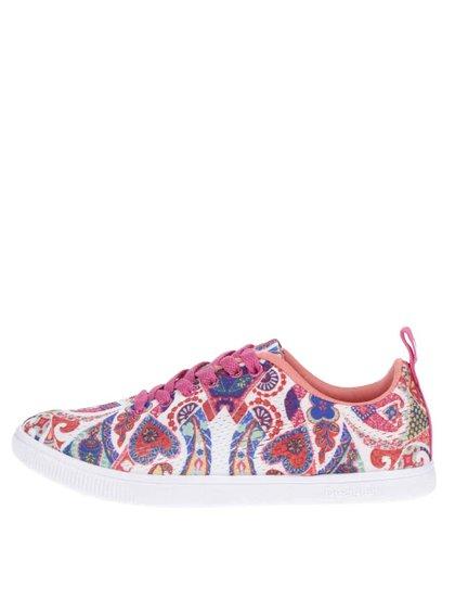Krémovo-růžové vzorované tenisky Desigual Camden