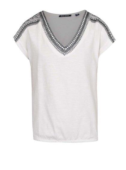 Krémové holčičí tričko s výšivkou v černé barvě Blue Seven