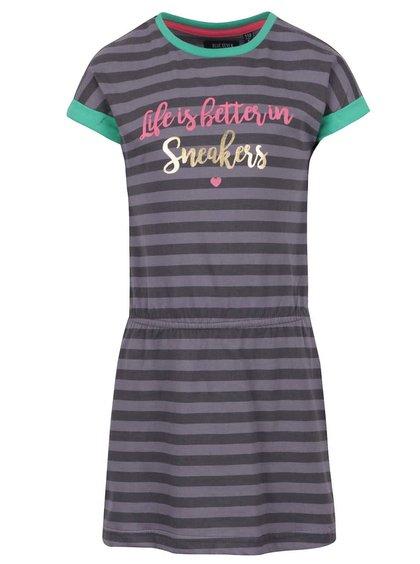 Šedo-černé holčičí pruhované šaty s potiskem Blue Seven