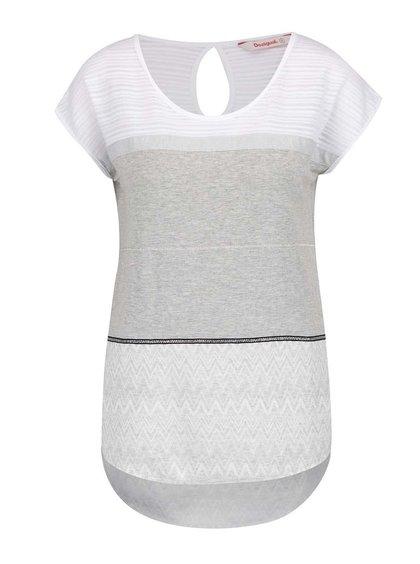 Bílo-šedý top s krátkým rukávem Desigual Mire