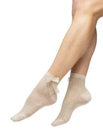 Béžové ponožky s mašlí Oroblu Funny
