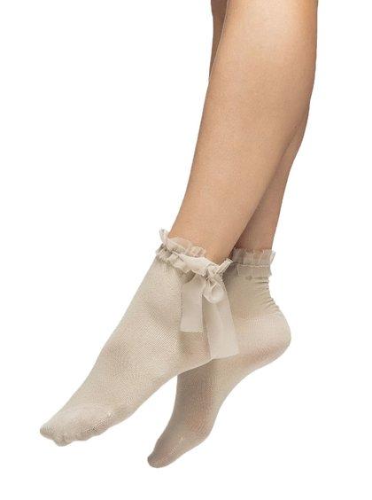 Béžové ponožky s řasením a mašlí Oroblu Adorable