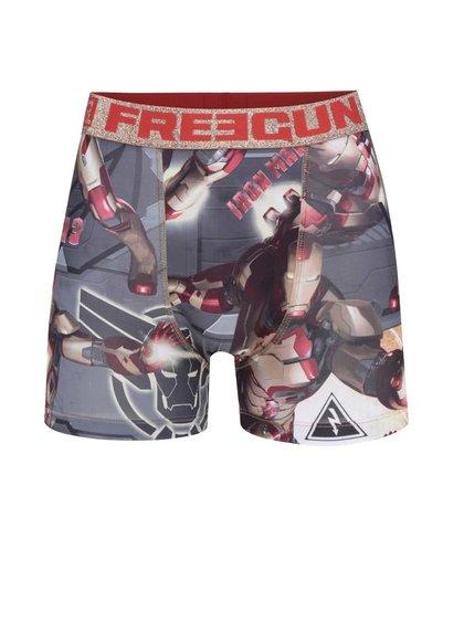 Boxeri gri Iron man Freegun cu imprimeu