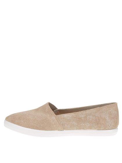 Dámské semišové loafers ve zlaté barvě OJJU
