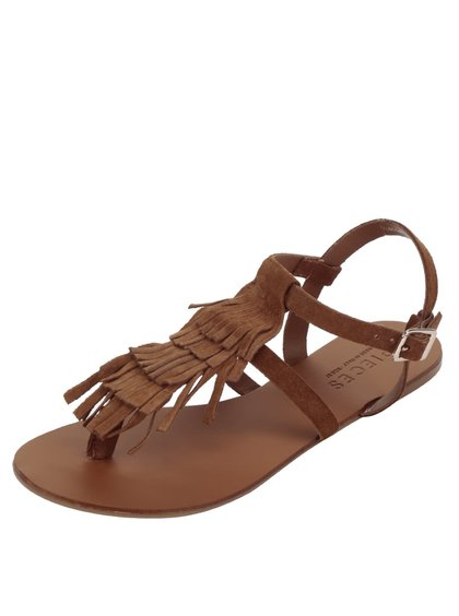 Sandale maro Pieces Berta din piele